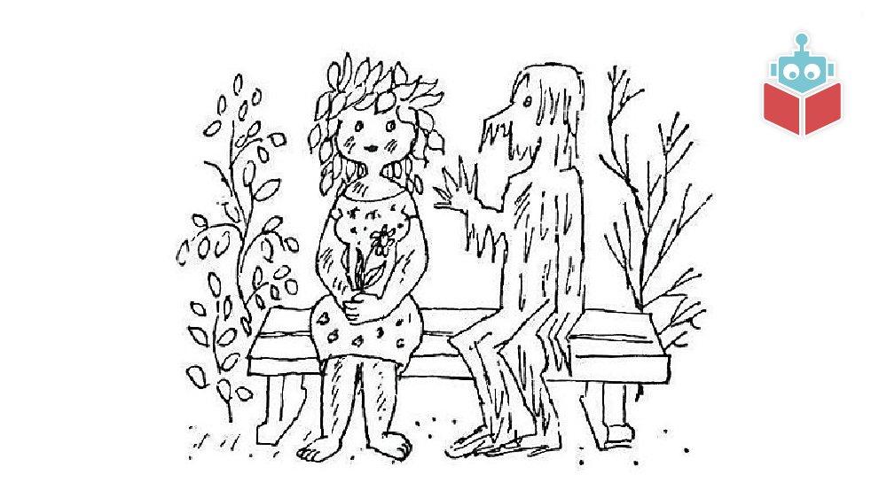 Her sidder snemand Frost og frøken Tø på bænken.